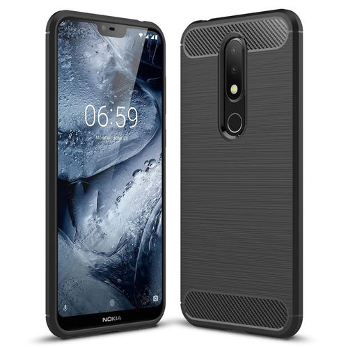Flexi Carbon Fibre Tough Case for Nokia 6.1 Plus - Brushed Black
